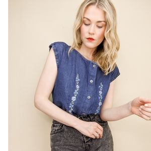 80s Embroidered Denim Button Down Blouse